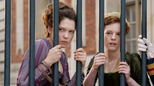 Léa Seydoux as Sedonie and Julie-Marie Parmentier as Honorine on the inside looking out for once.